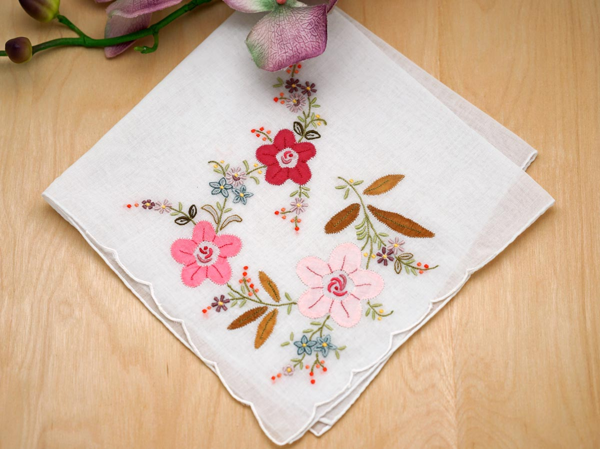 Set of pink floral applique embroidered handkerchiefs
