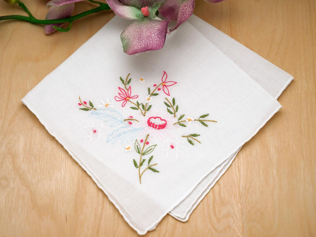 Set of pink lotus flower embroidered handkerchiefs