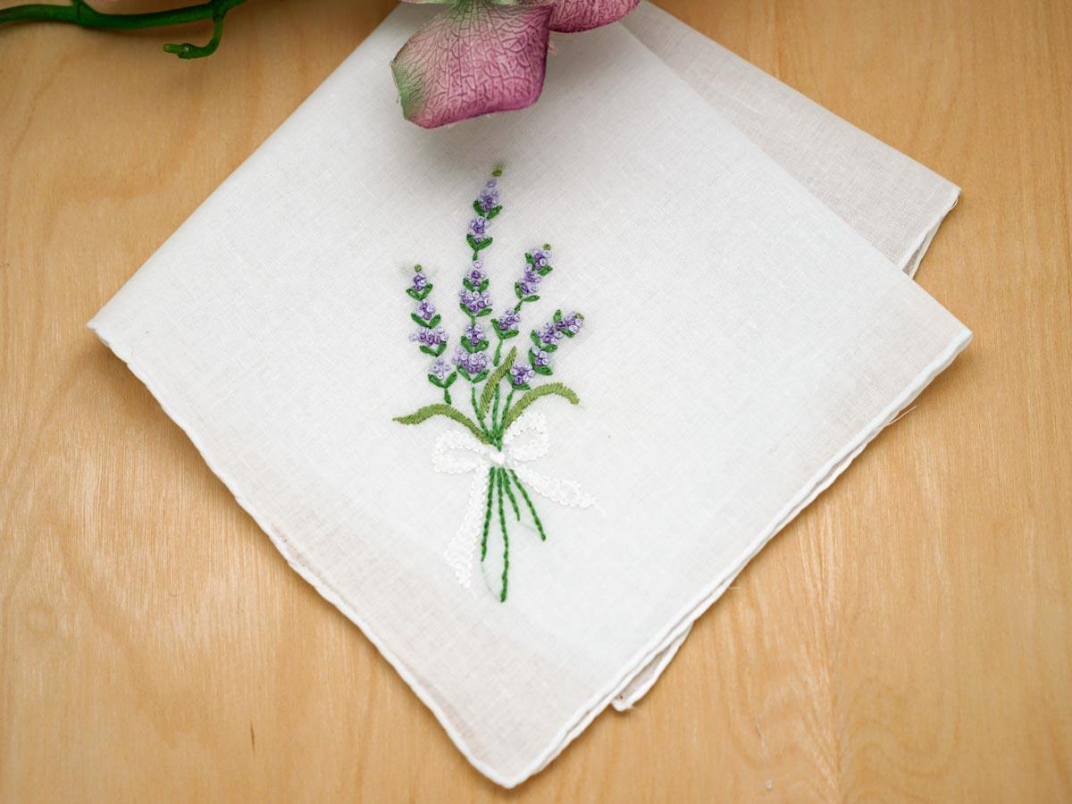 Set Of 3 Lavender Embroidered Handkerchiefs