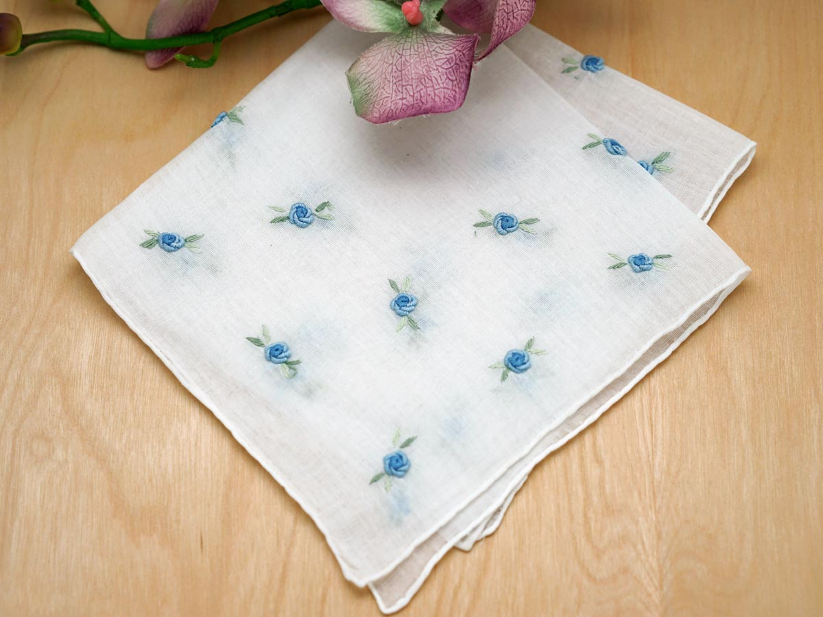 Set of 3 Something Blue Roses Bridal Handkerchiefs