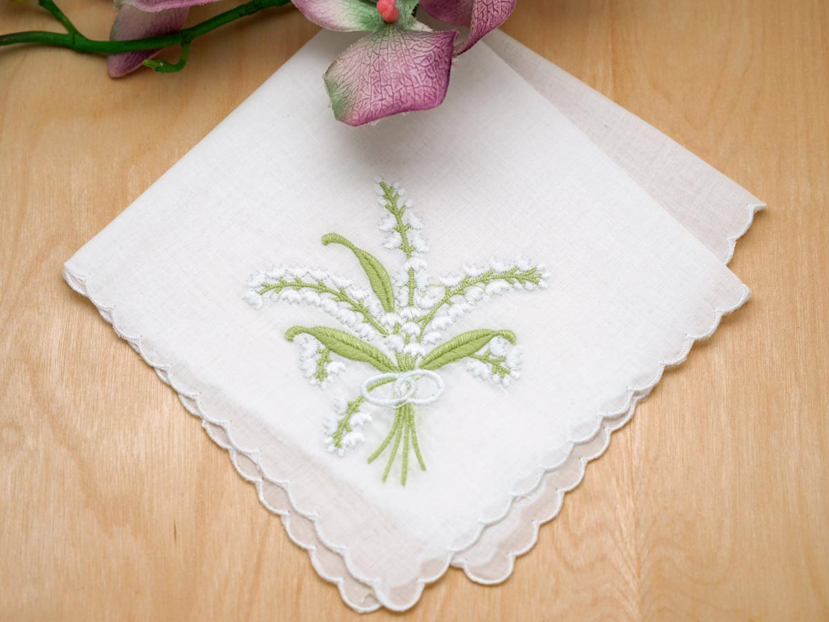 Set of 3 White Lily of the Valley Hankies w/ Scallop Edges