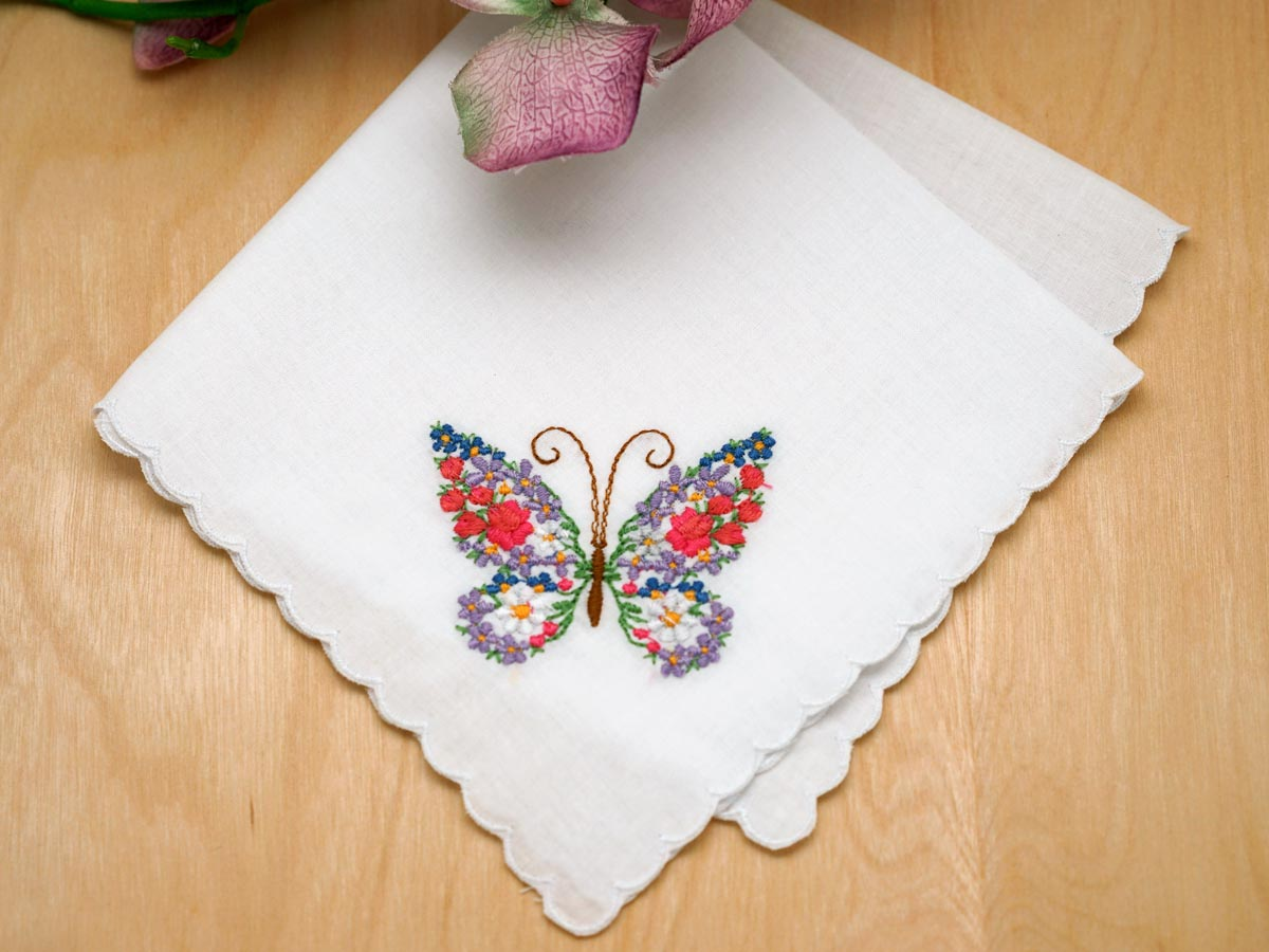 Set of butterfly floral embroidered ladies handkerchiefs
