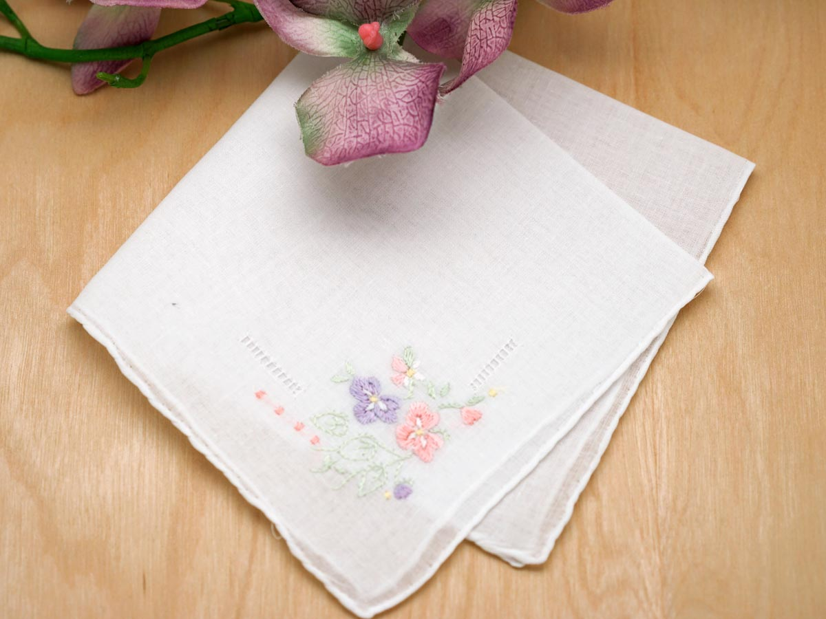 Set of 3 Lavender and Pink Pansy Handkerchiefs