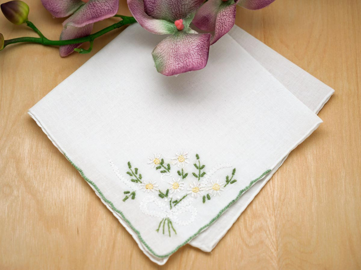 Set of 3 White Daisy Bouquet Handkerchiefs w/ Sage