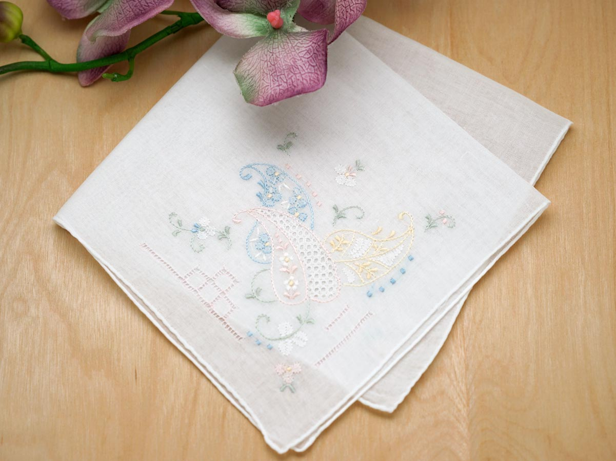 Set of 3 Feather Embroidered Ladies Handkerchiefs