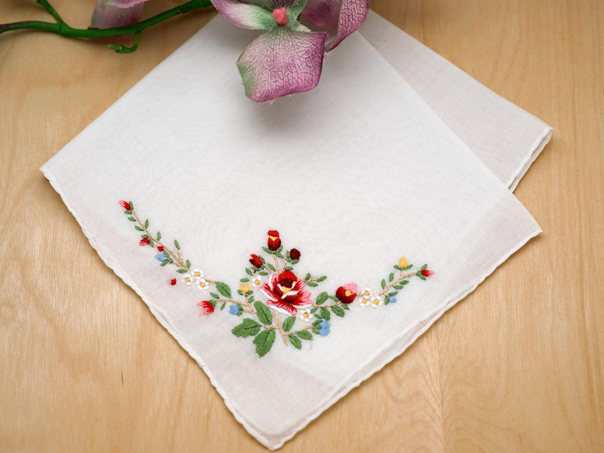 Set of 3 Red Rose Wedding Handkerchiefs