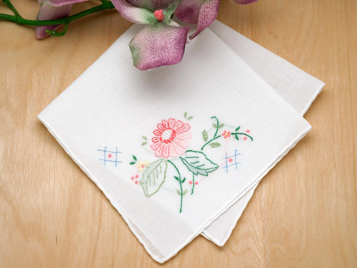 Set of 3 Pink Dahlia Handkerchiefs