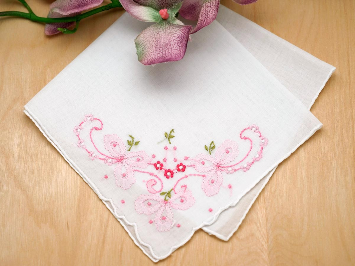 Set of 3 Pink Wedding Bows Handkerchiefs