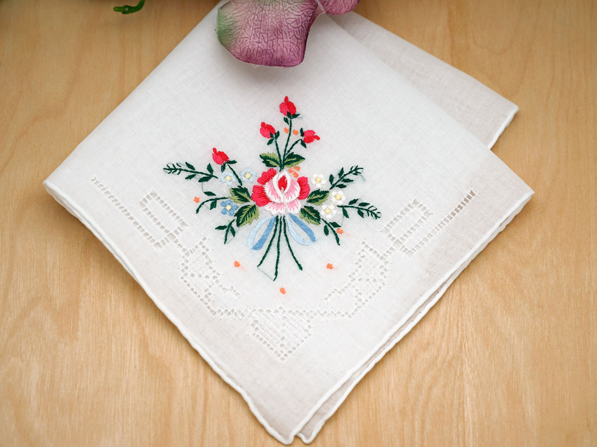 Heirloom Rose Bridal Handkerchief