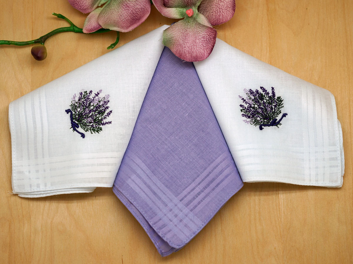 Set of 3 White and Purple Wildflowers Embroidered Handkerchiefs