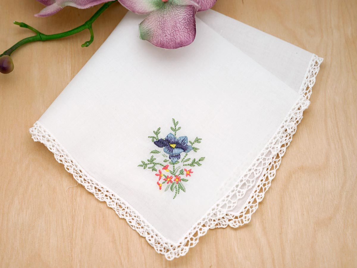 Set Of 3 Bluebird Floral Embroidered Handkerchiefs With Lace