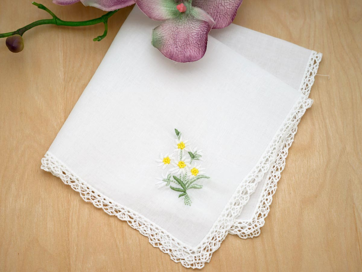 Set of 3 Cheerful Daisy Embroidered Handkerchiefs with Lace
