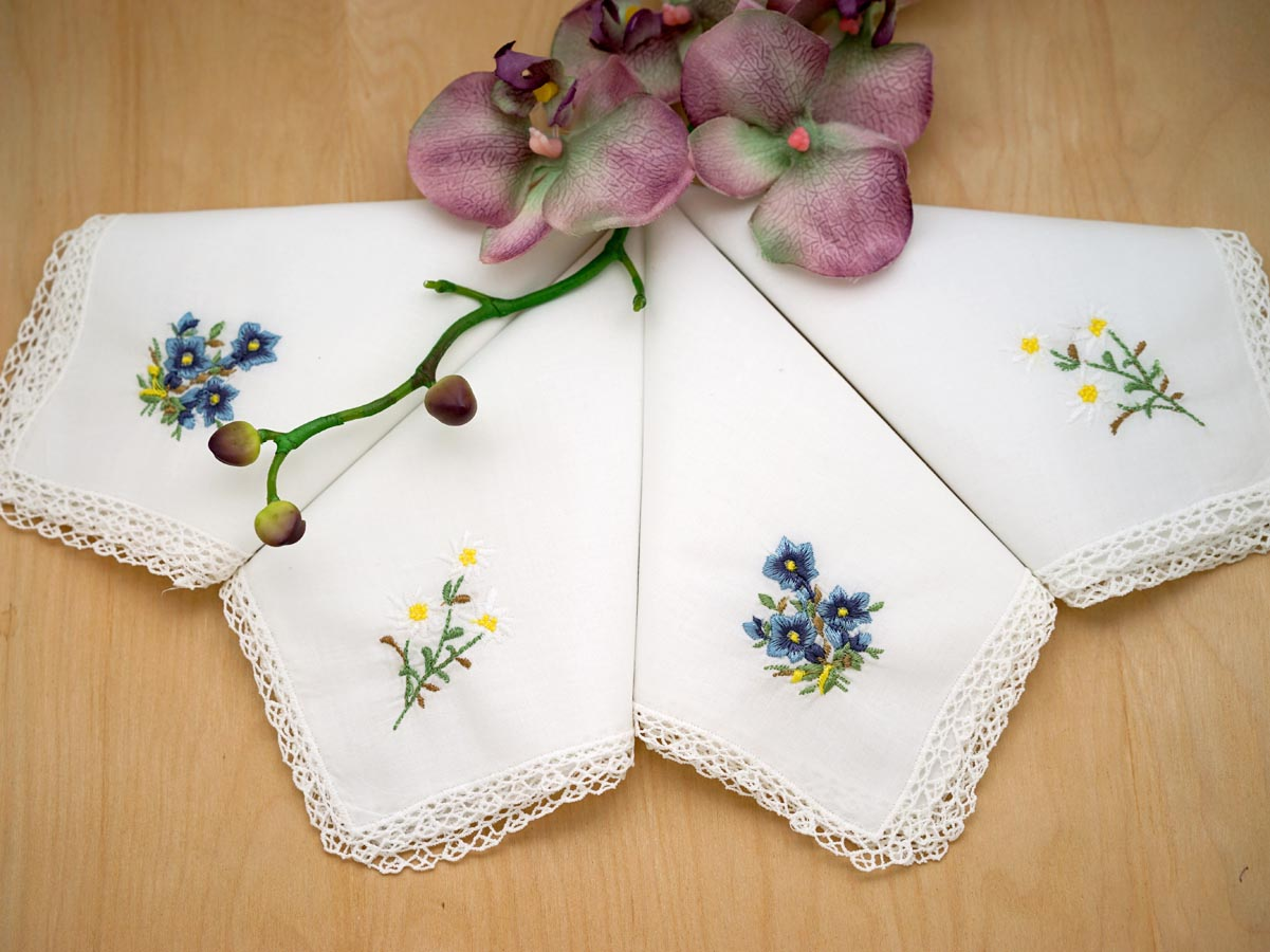 Set of 4 Yellow and Blue Hankies with Lace