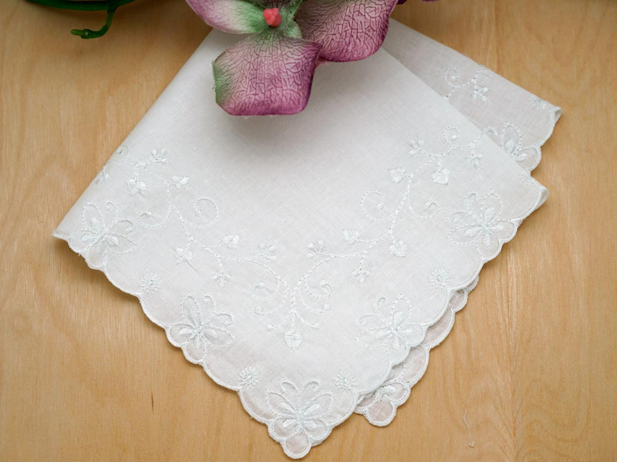 White Butterfly and Heart Wedding Handkerchief