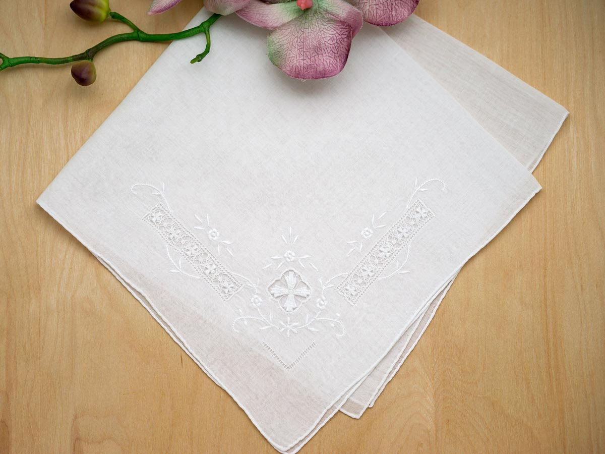 Set of 3 White Cross Drawnwork Handkerchiefs