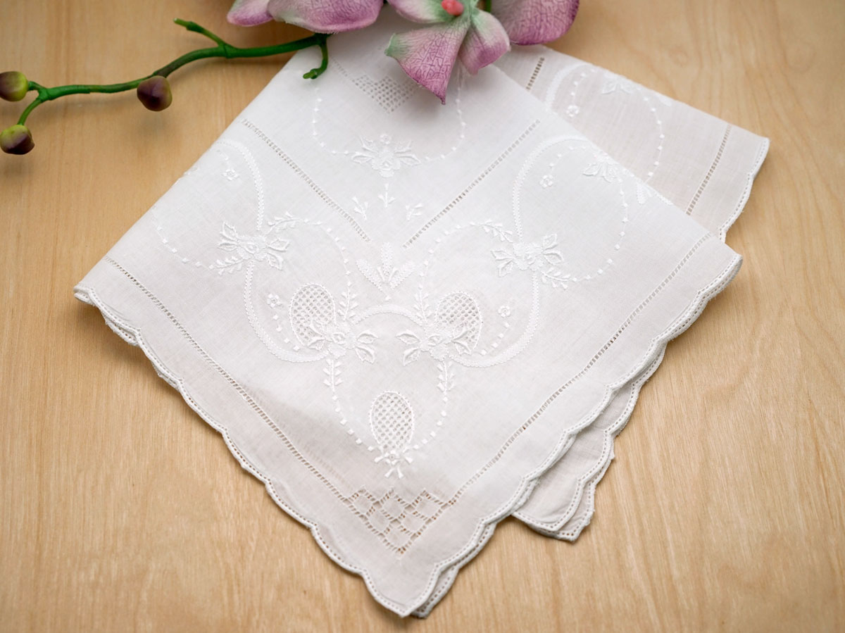 White Forever Love Floral Handkerchief