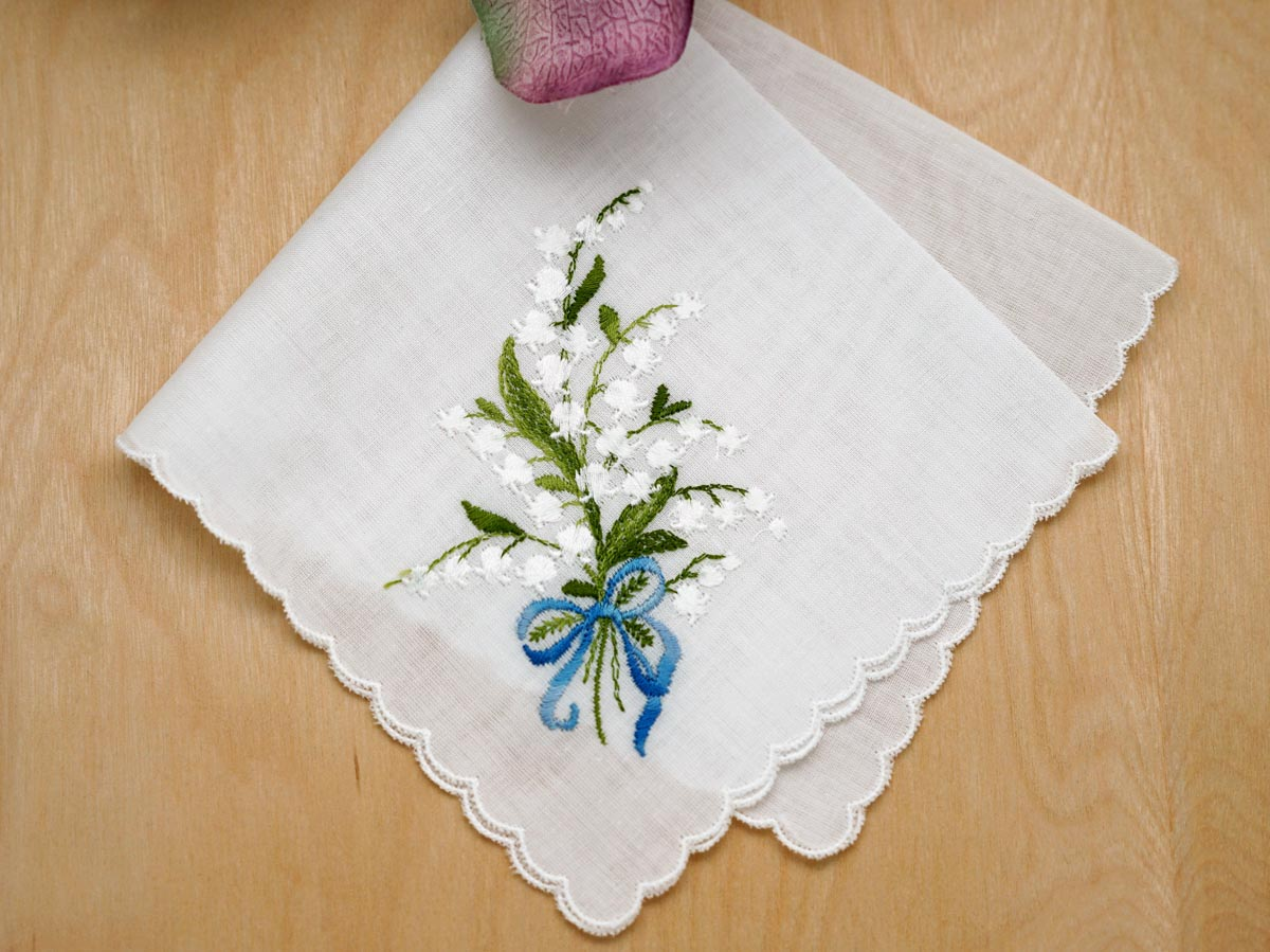 Swiss Lily of the Valley Something Blue Bridal Handkerchief