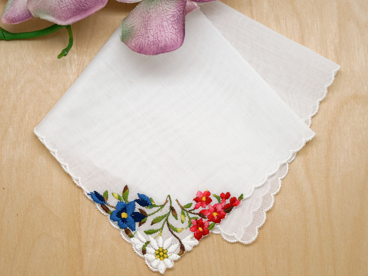 Swiss Cheerful Bridal Floral Handkerchief