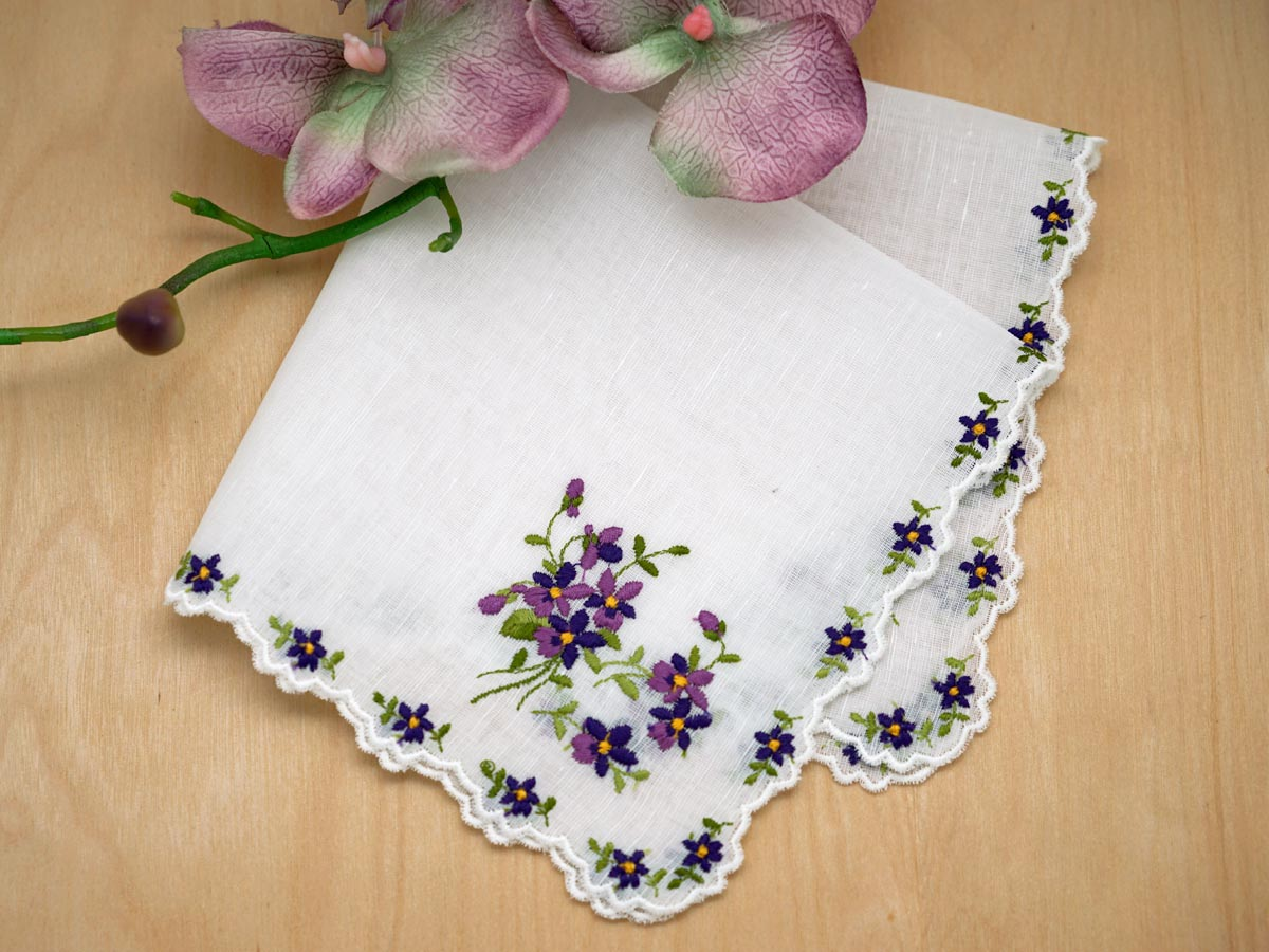 Swiss Violet Cluster Ladies Handkerchief