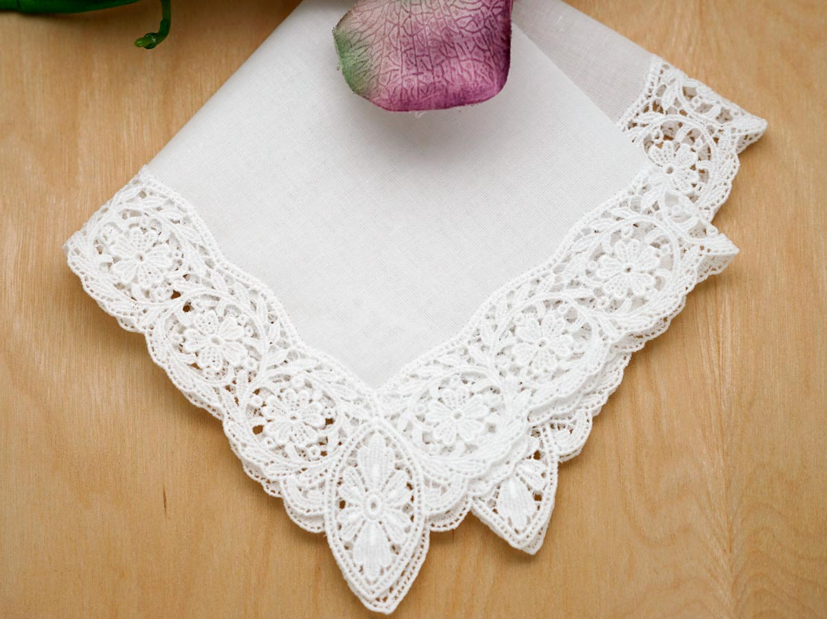 Daisy Vine German Guipure Lace Ladies Handkerchief