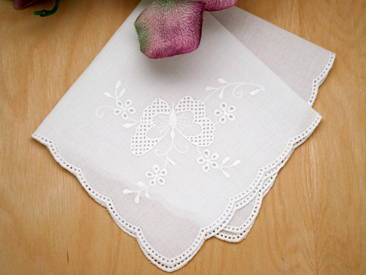 White Scallop Edge German Butterfly Handkerchief