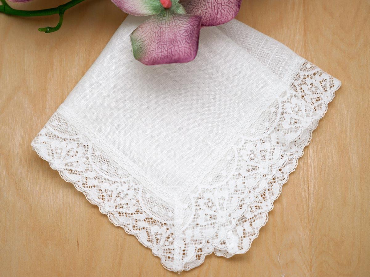 Irish Linen Fan Las Lace Handkerchief