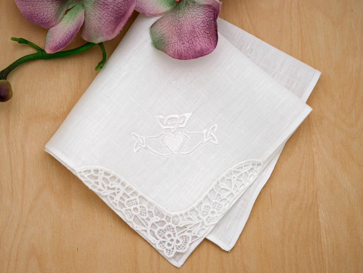 Irish Linen Claddagh Embroidered Handkerchief