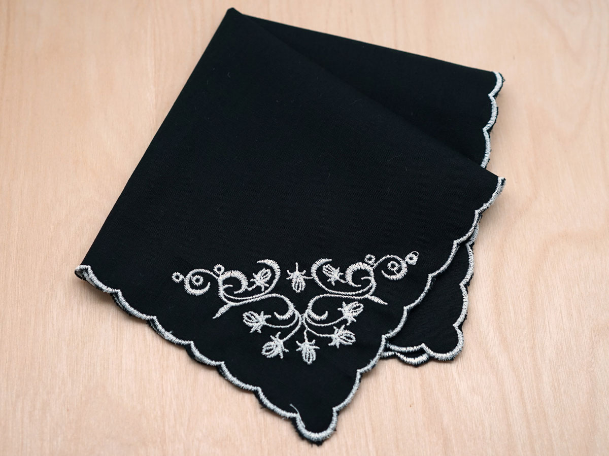 Memorial Black Scallop Handkerchief with White Flowers