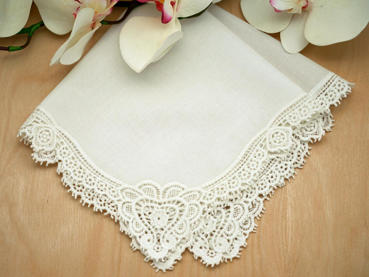 Set of 3 Ivory Claddagh Cluny Lace Wedding Handkerchiefs