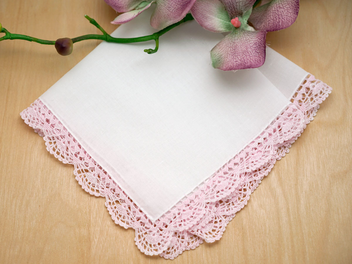 Set of 3 Pink Scallop Crochet Lace Handkerchiefs