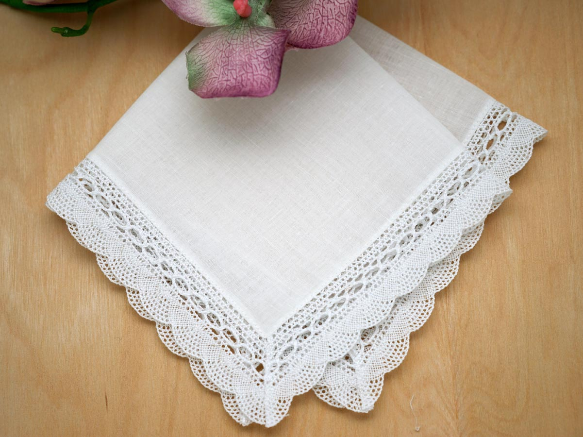 Set of 3 Seashell Bobbin Lace Wedding Handkerchiefs