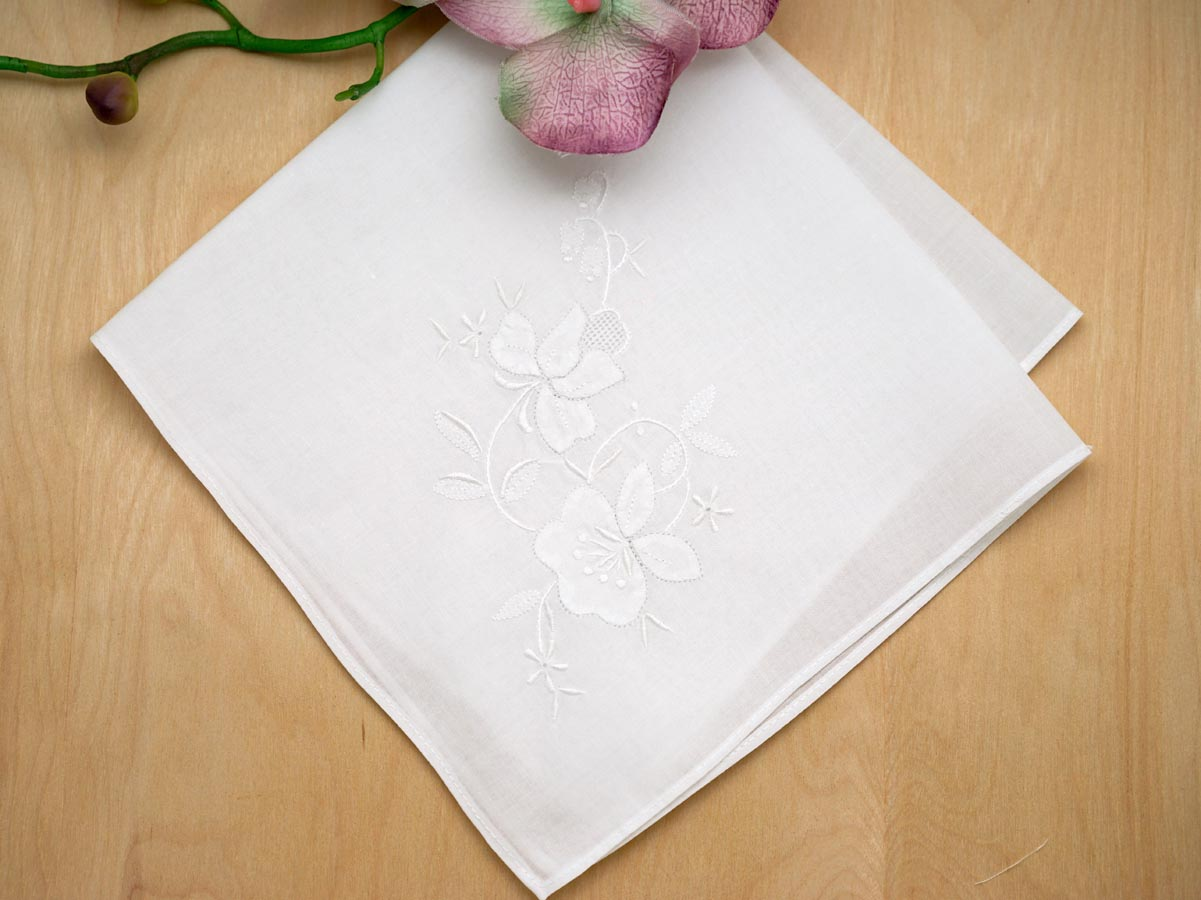 Set of white floral applique wedding handkerchiefs