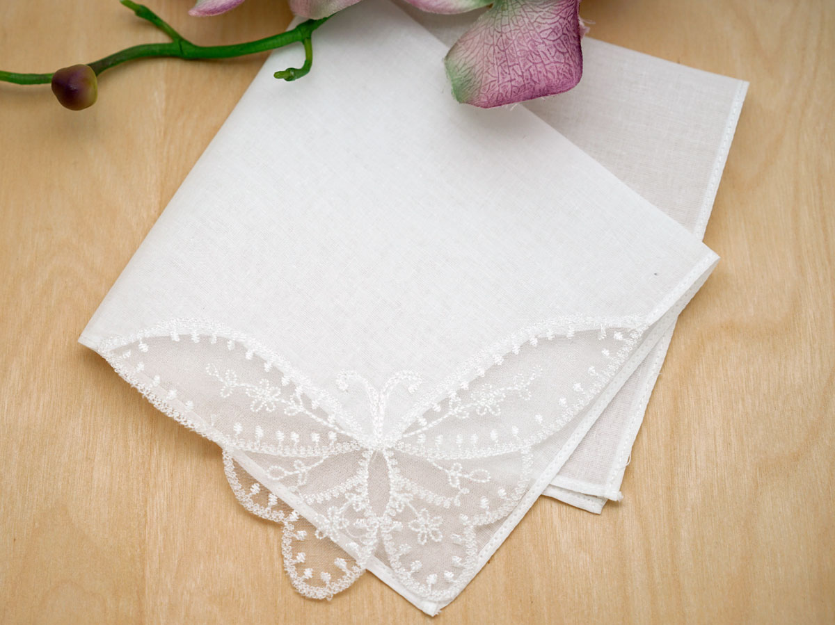 Set of 3 Butterfly Delicate Lace Corner Wedding Handkerchiefs