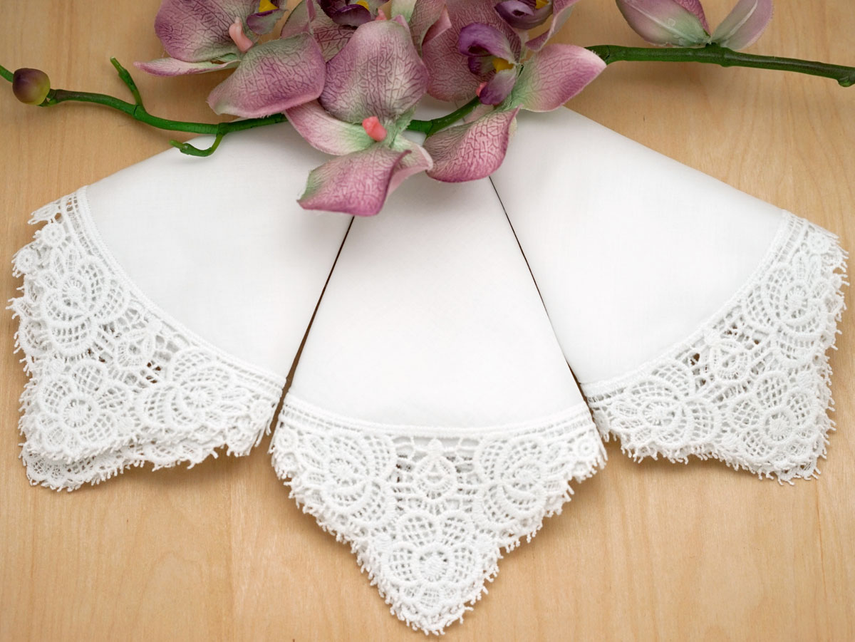 Set of 3 White Peony Cluny Lace Handkerchiefs (SPECIAL OFFER)