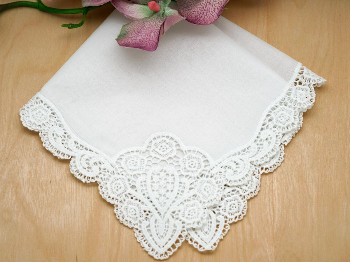 Set of 3 Regal Cluny Lace Wedding Handkerchief