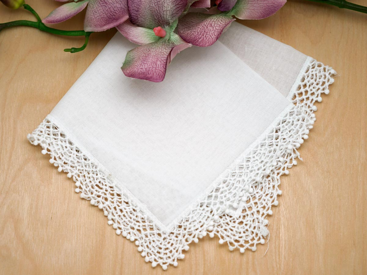 Set of 3 Latticework Cluny Lace Wedding Handkerchiefs