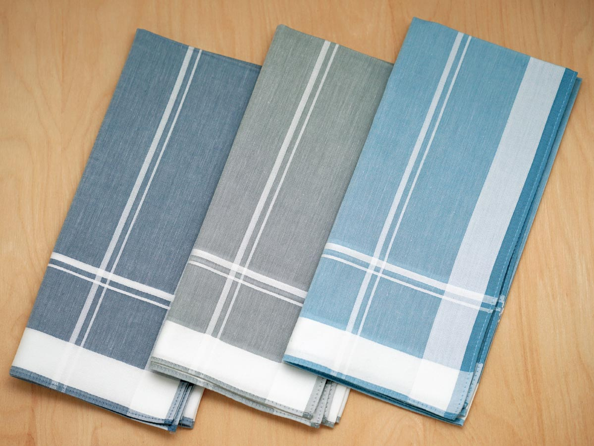 Set of 3 Blue/Grey Patterned Woven Striped Mens Handkerchiefs