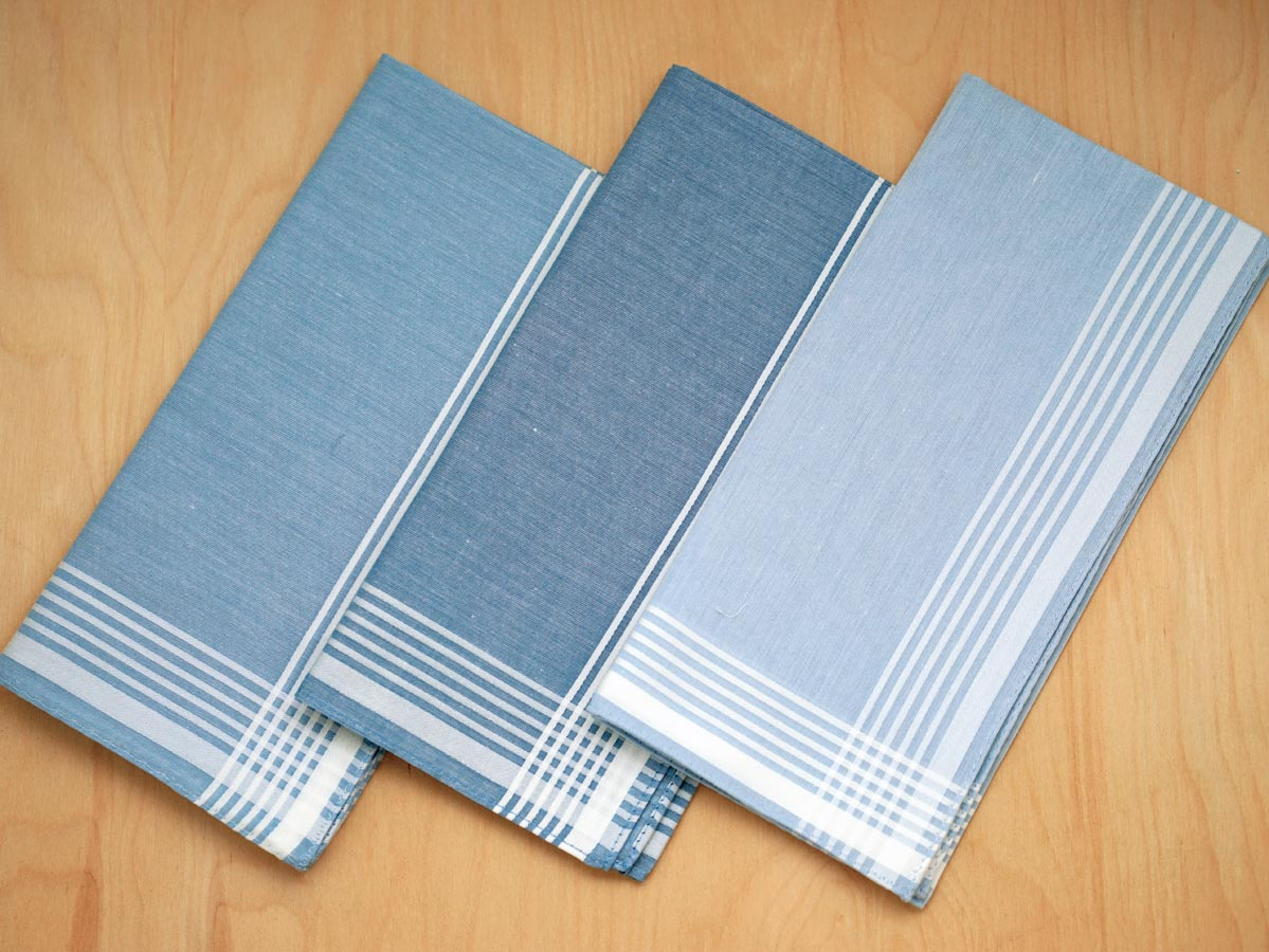 Set of 3 Mixed Blue Woven Mens Handkerchiefs