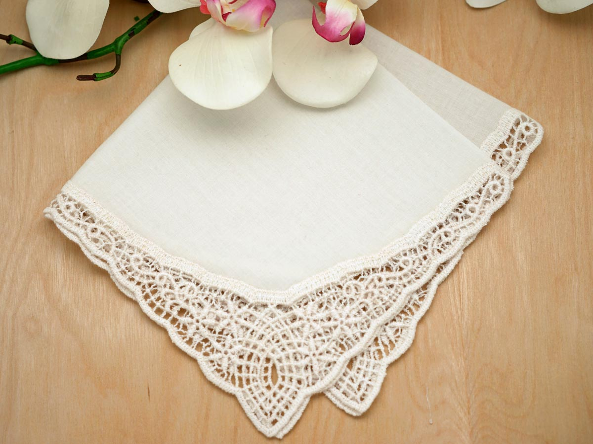 Ivory Starlight German Plauen Lace Ladies Handkerchief
