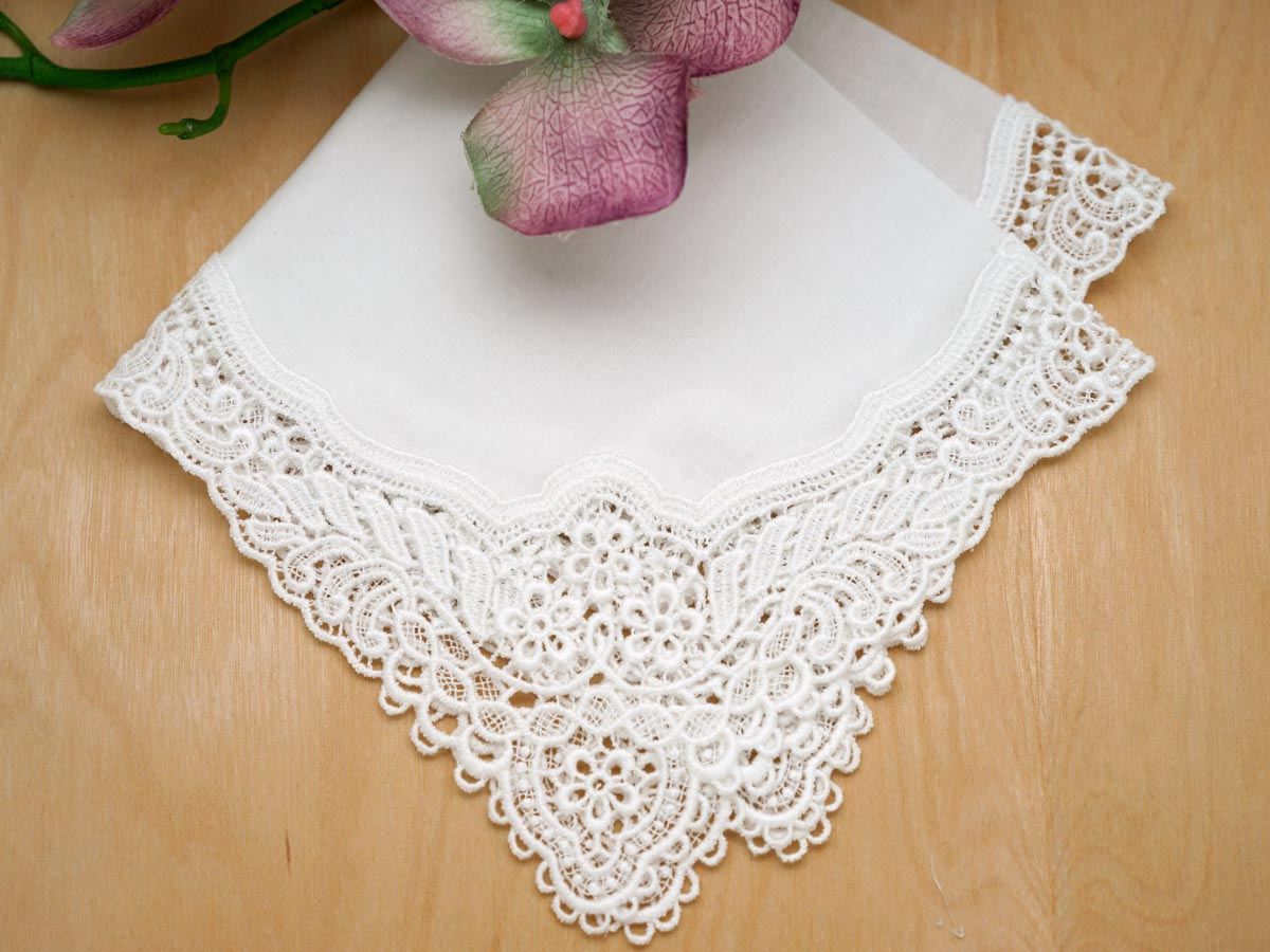 White Floral German Plauen Lace Ladies Handkerchief