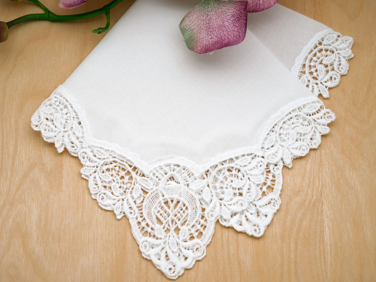 White Ss German Plauen Lace Womens Handkerchief