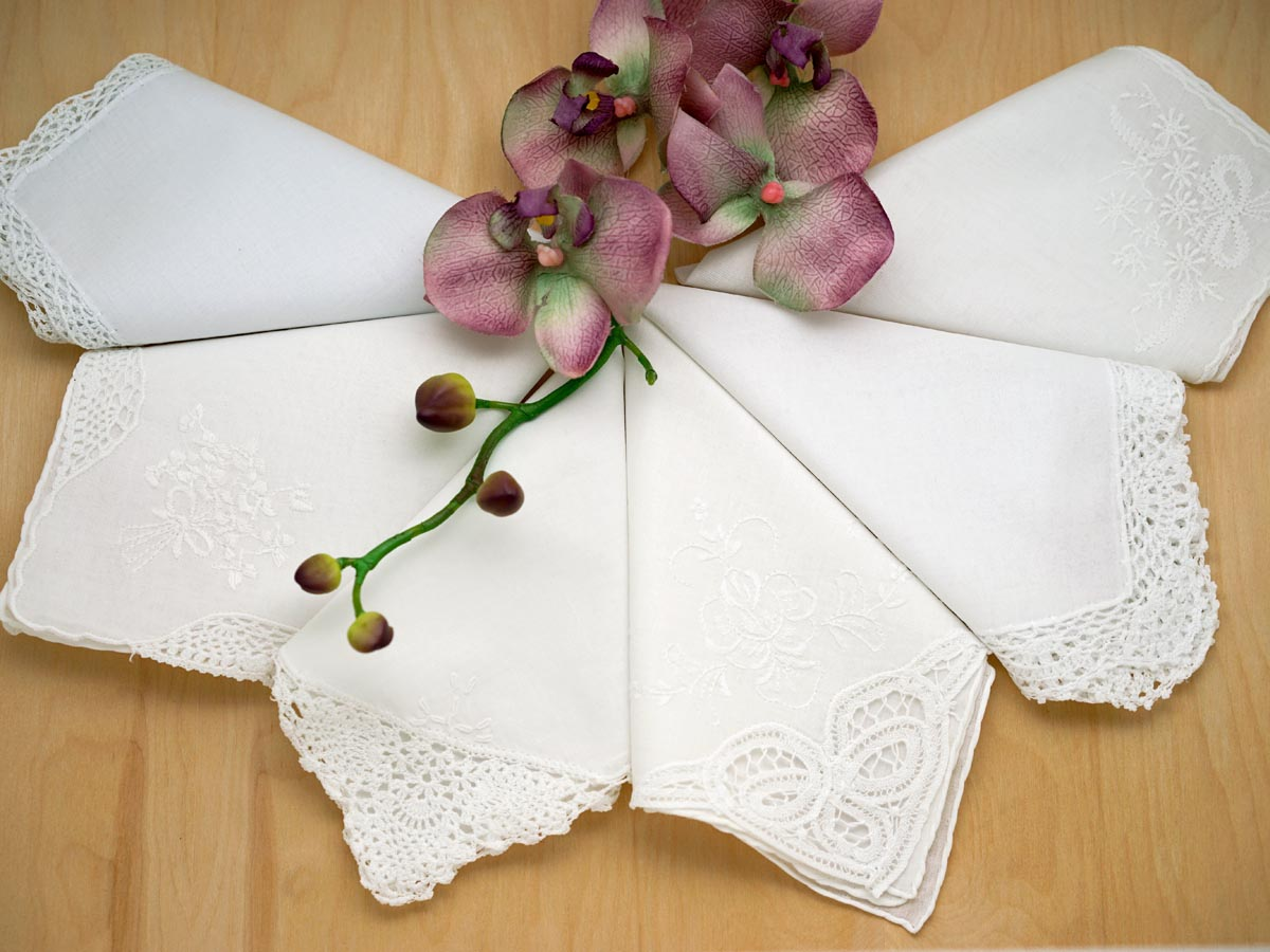 Bridal Set of 6 Different Wedding Handkerchiefs - Set A