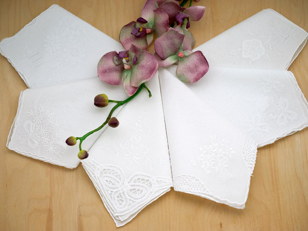 Bridal Set of 6 Different Wedding Handkerchiefs - Set B