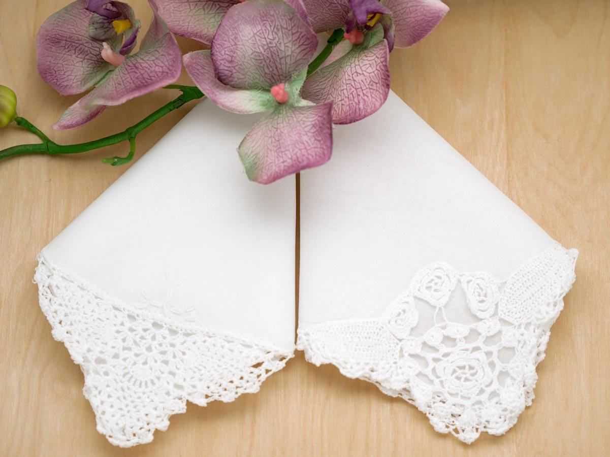 Mothers Set Wedding Handkerchief Set with Crochet Lace