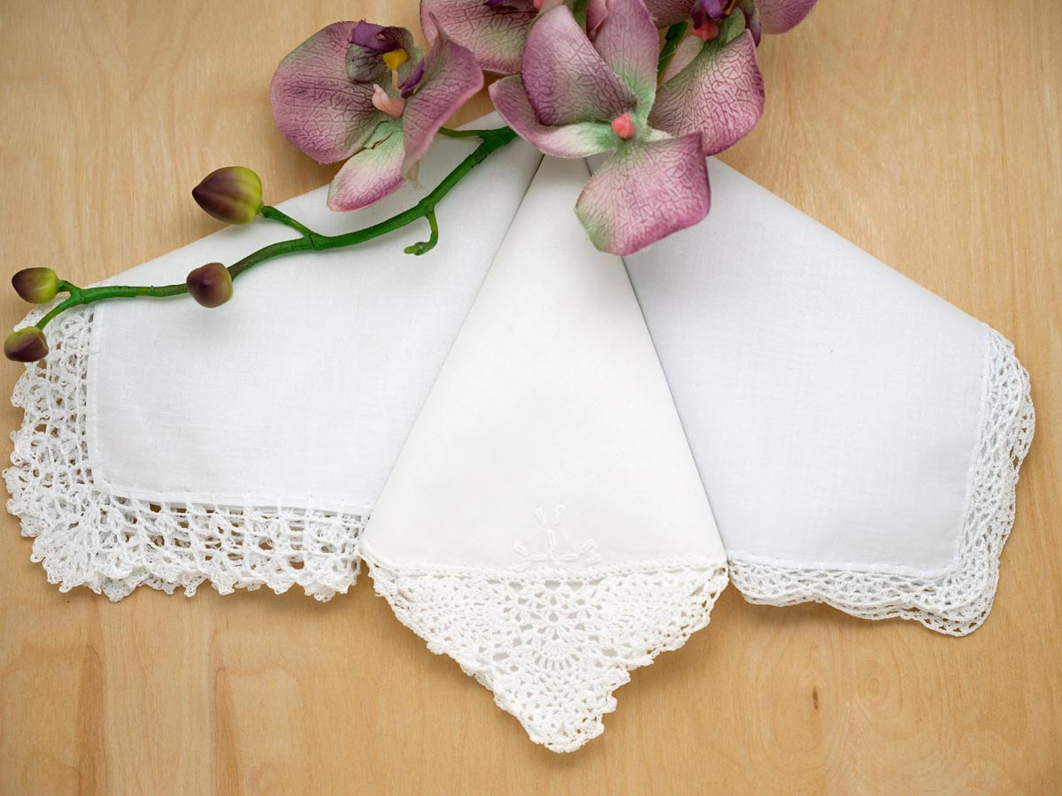 Bridal Set Of 3 Diffe Crochet Lace Wedding Handkerchiefs