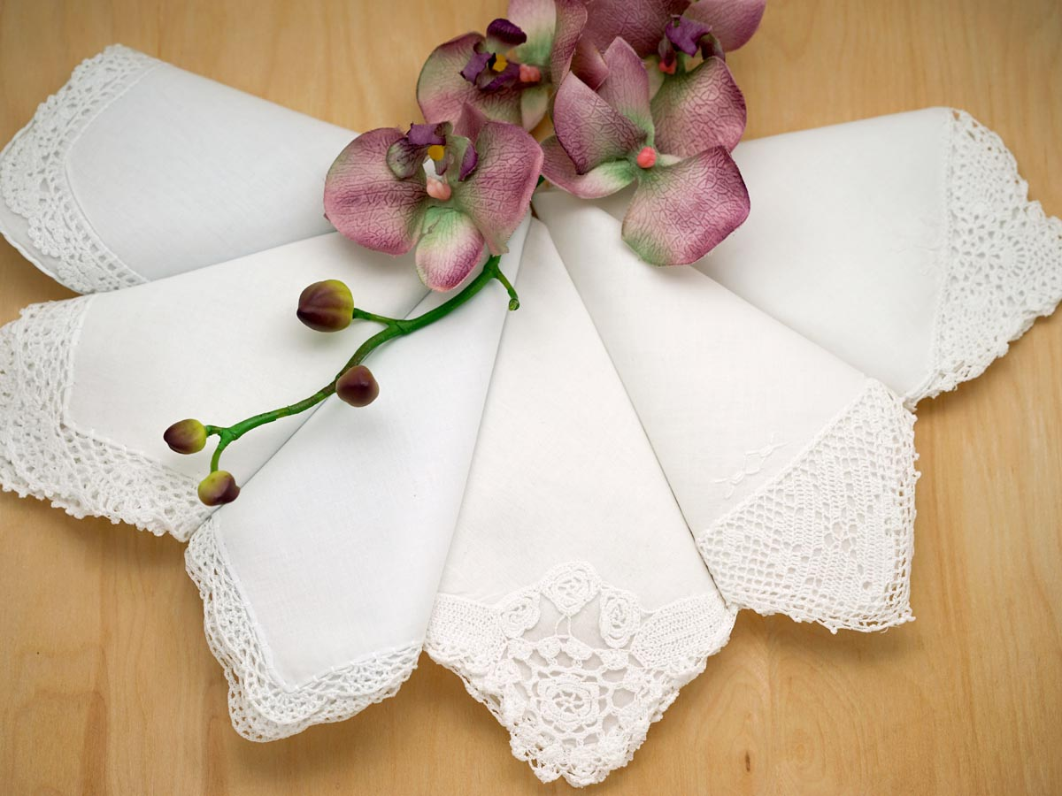Bridal Set of 6 Different Wedding Handkerchiefs - Set E