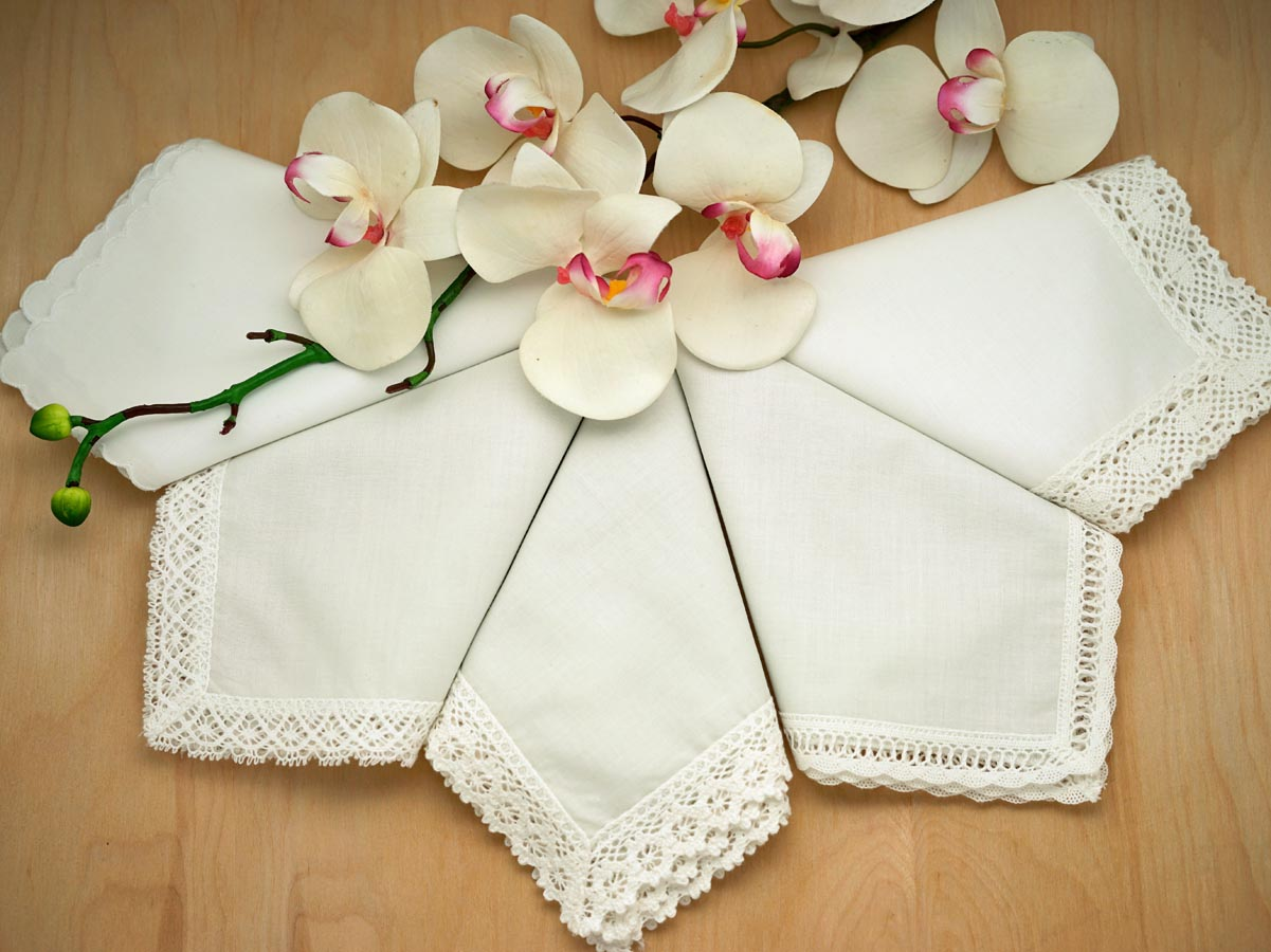 Bridal Set of 5 Different Ivory Wedding Handkerchiefs