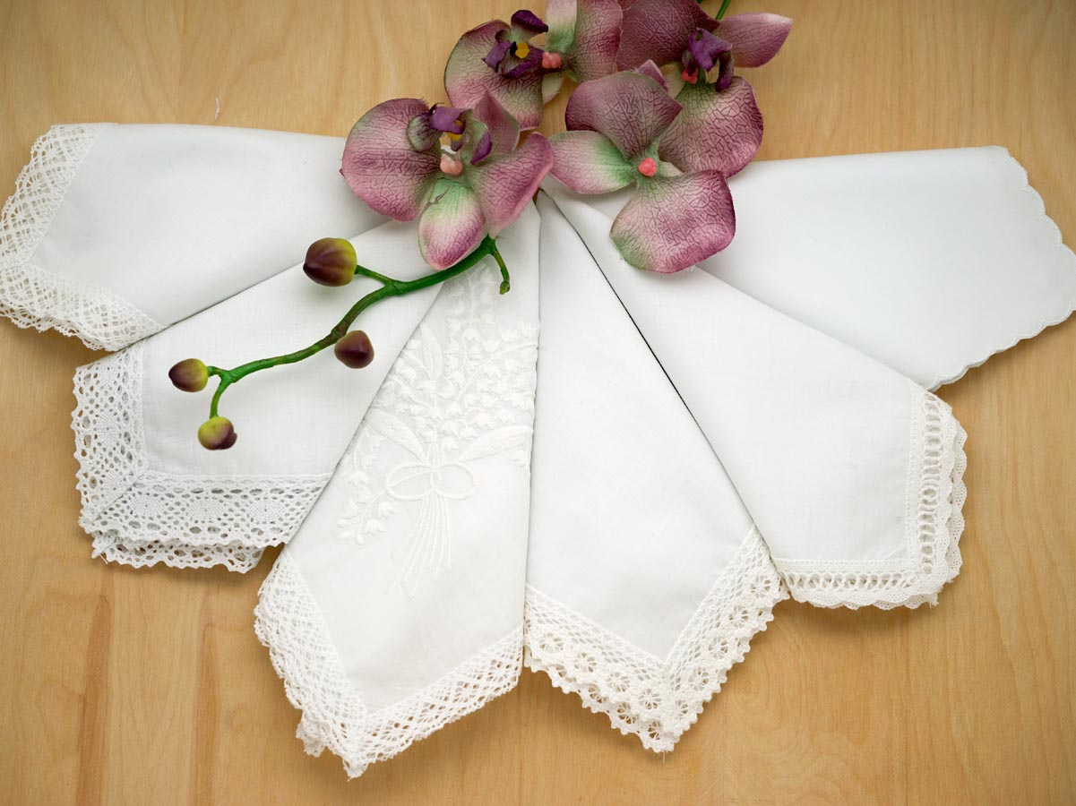 Bridal Set of 6 Different Wedding Handkerchiefs - Set H