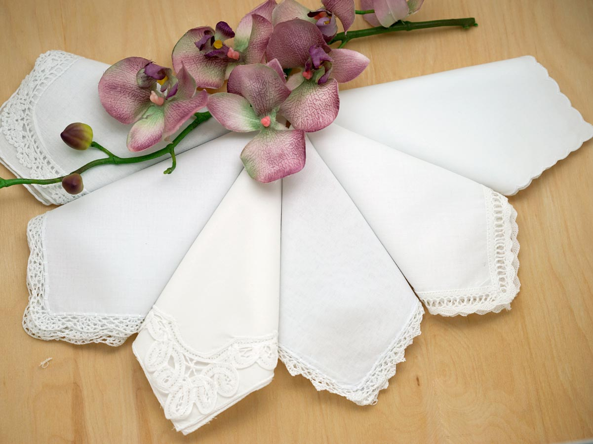 Bridal Set of 6 Different Wedding Handkerchiefs - Set I