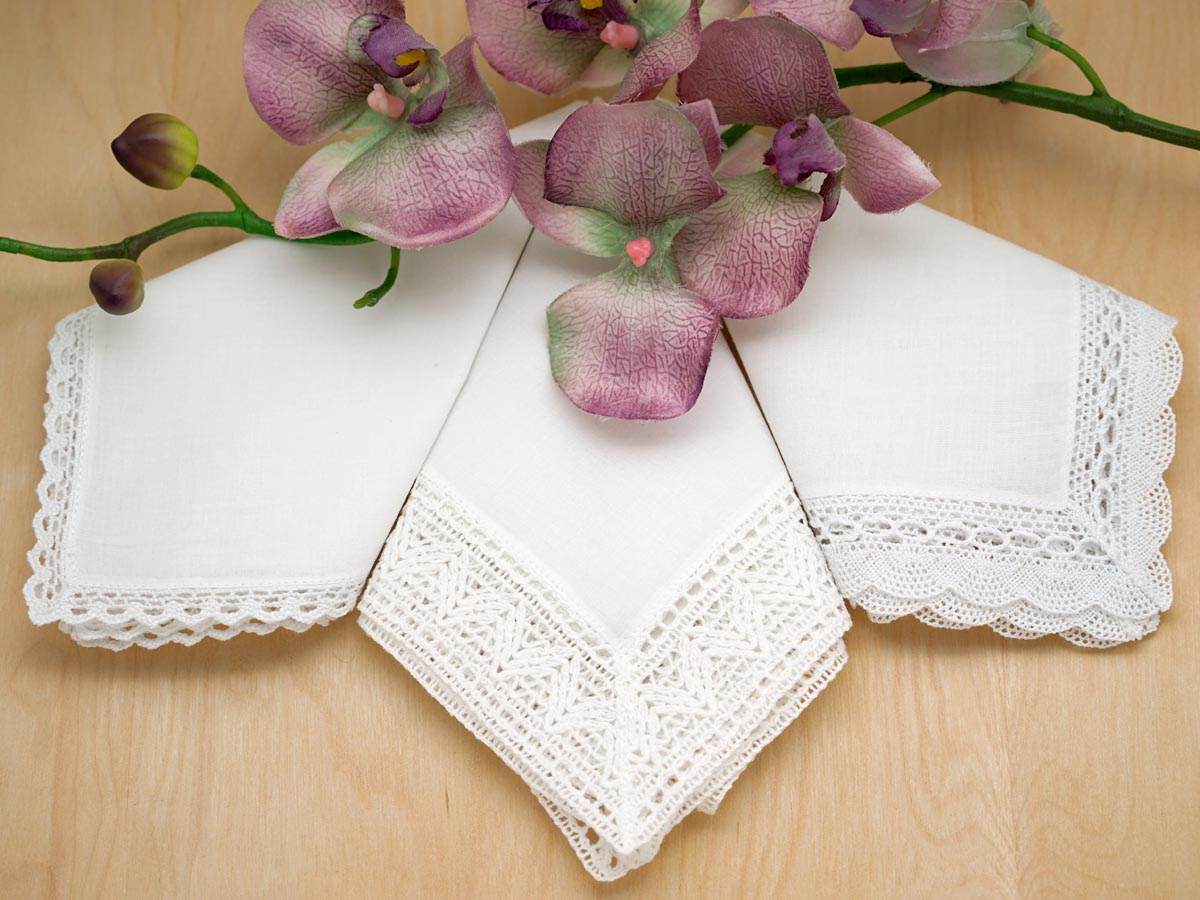 Bridal Set of 3 Different Lace Wedding Hankies